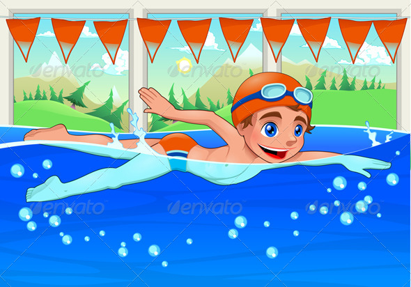 GraphicRiver Young Swimmer in the Swimming Pool 6245260