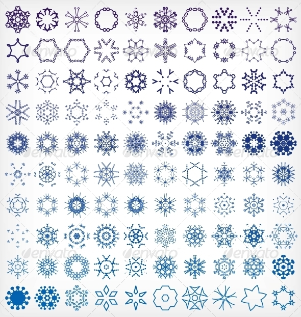 GraphicRiver Set of Winter Snowflake Icons 6245378