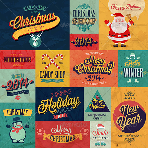 GraphicRiver Christmas Set Emblems and Decorative Elements 6245527