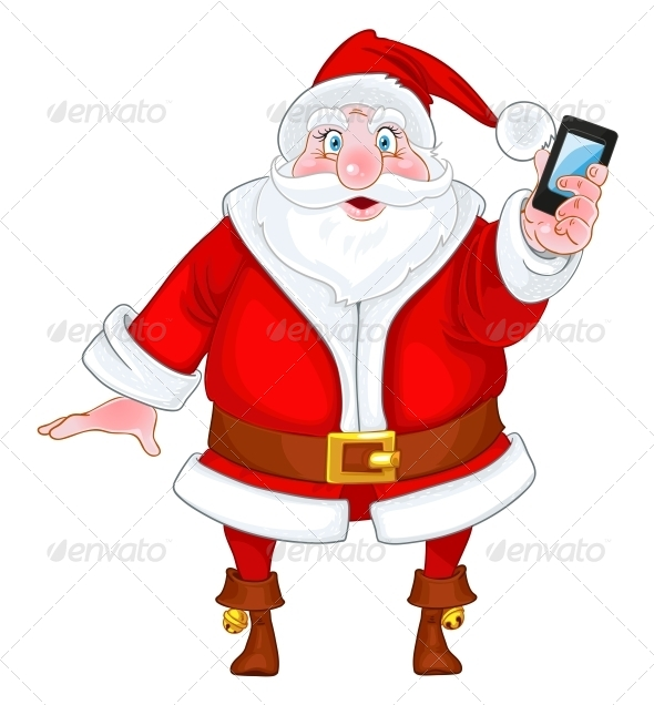 GraphicRiver Santa Claus with a Smart Phone 6245793