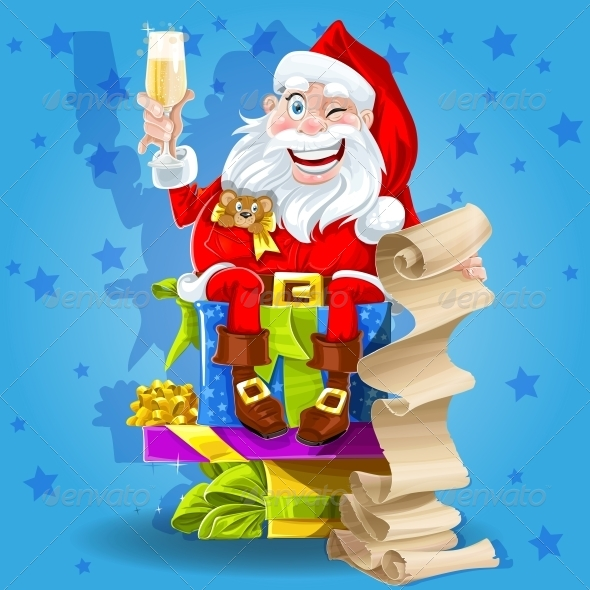 GraphicRiver Santa Claus with Gifts and Champagne 6245796