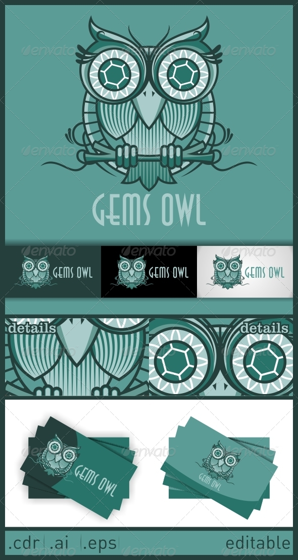 GraphicRiver Gems Owl Logo 6246577