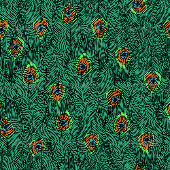 GraphicRiver Peacock s Feathers Pattern 6246585