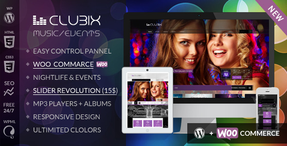 ThemeForest Clubix Nightlife Music & Events WordPress Theme 6098535