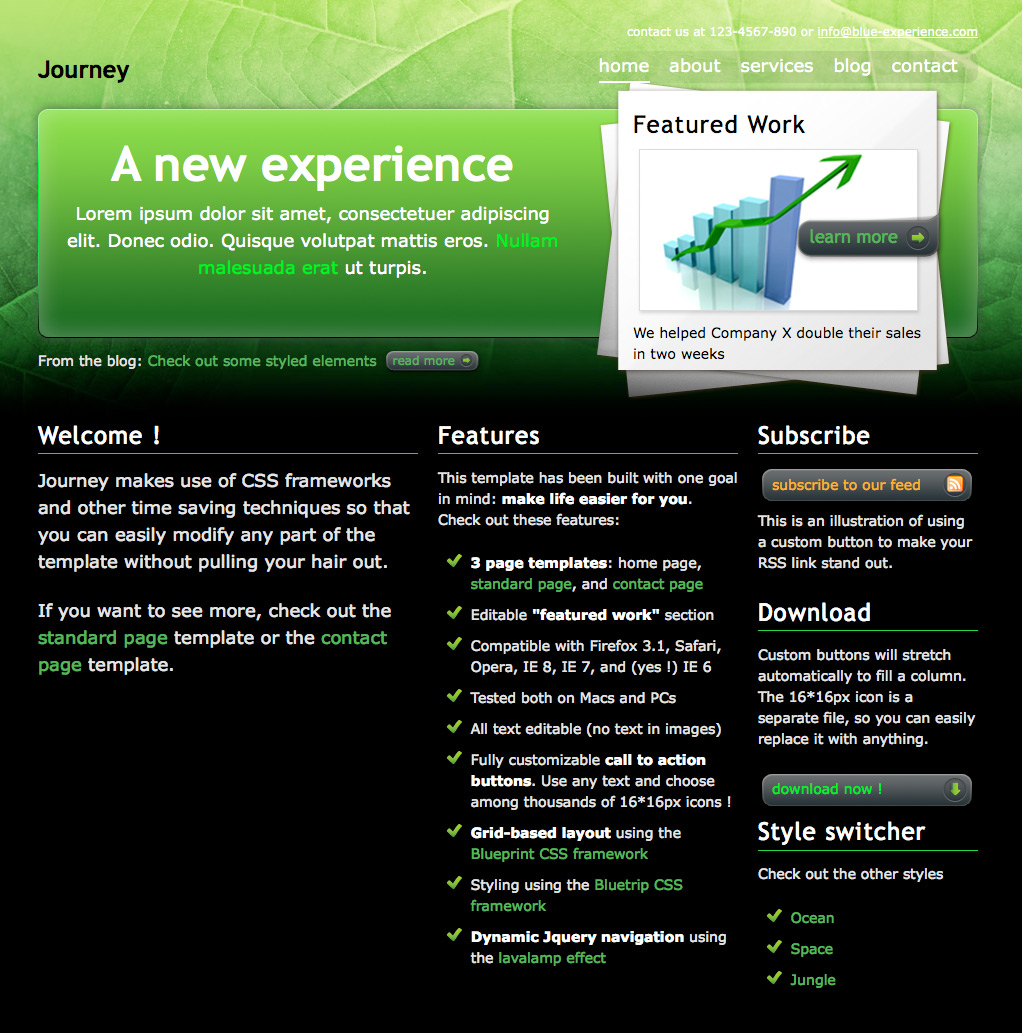 "Journey - The ""jungle"" home page, with a ""featured project"" zone and three columns of content."