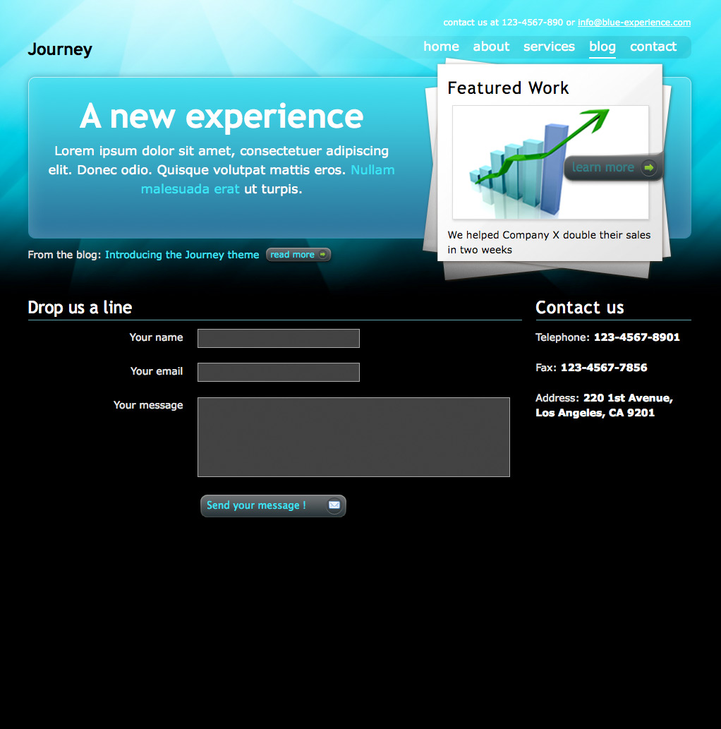 "Journey - The ""ocean"" contact page, with custom form elements styling"