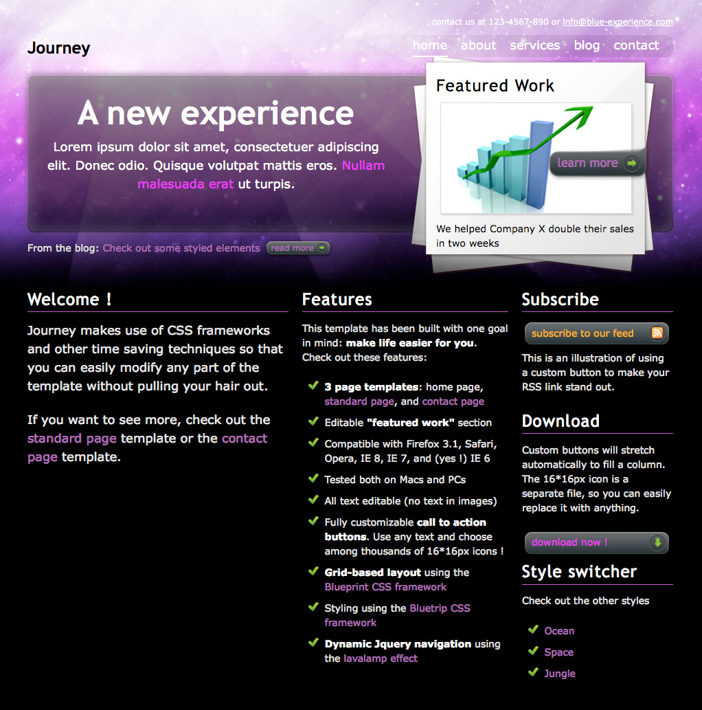 "Journey - The ""space"" home page, with a ""featured project"" zone and three columns of content."