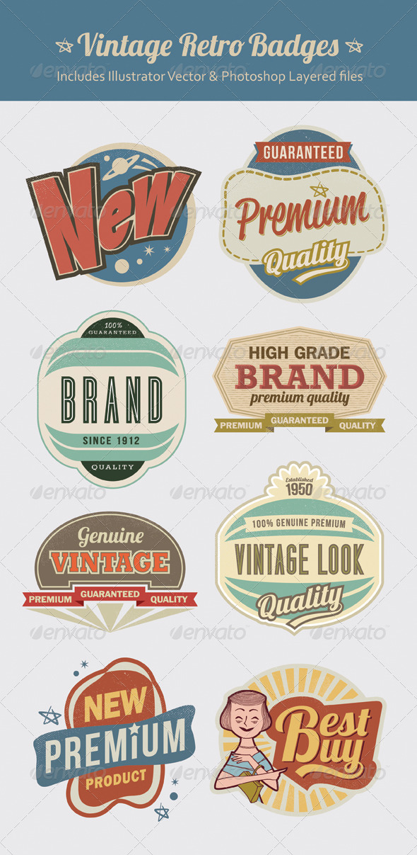 GraphicRiver Retro Vintage Labels and Badges 6246812