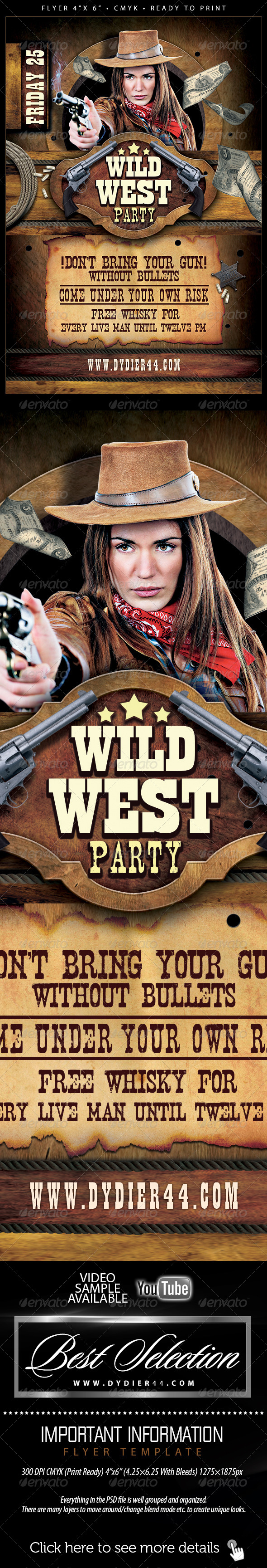 GraphicRiver Wild West Flyer Template 4x6 6246886