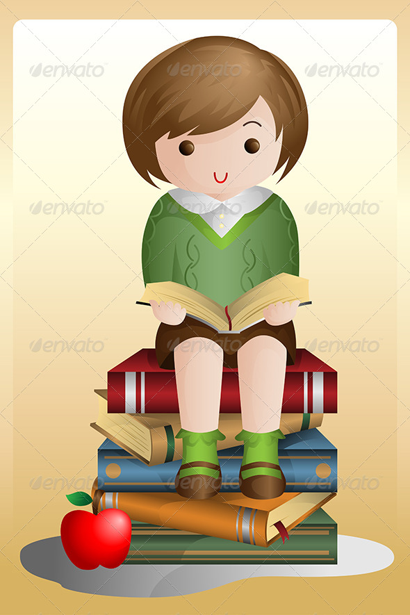 GraphicRiver Young Student Reading 6246892