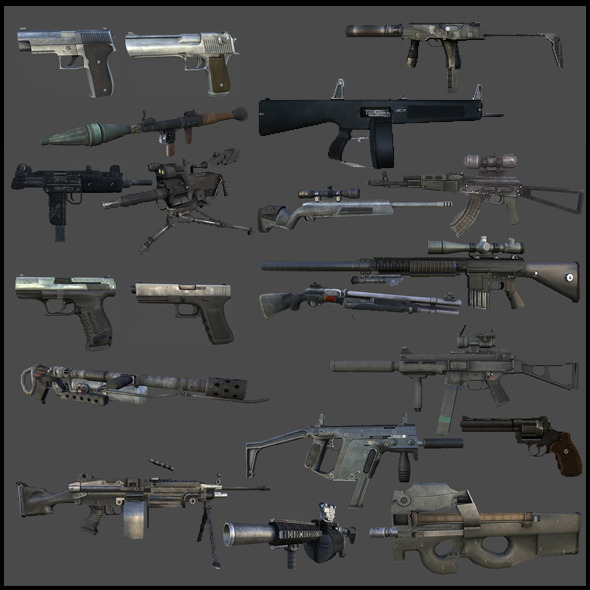 3DOcean Modern Weapons Pack 6246896