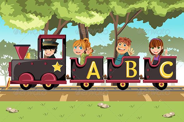 GraphicRiver Kids Riding Alphabet Train 6247256