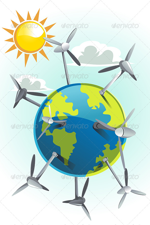 GraphicRiver Wind Turbines on Earth 6247258