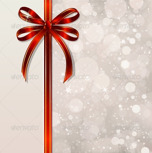 GraphicRiver Red Bow on a Magical Christmas Background 6247417