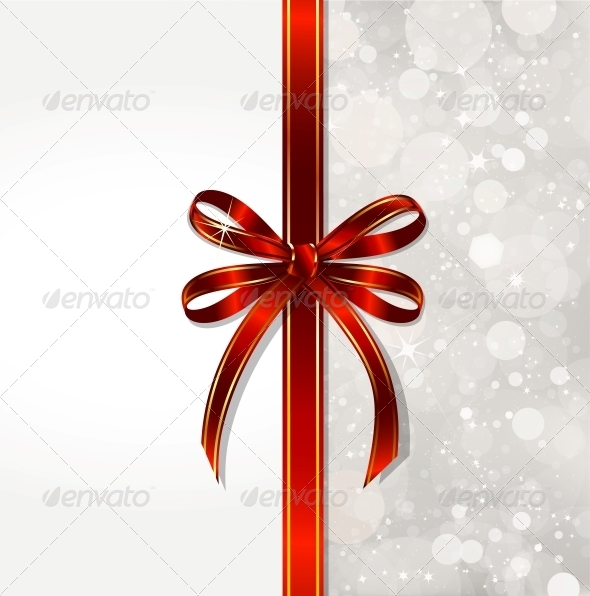 GraphicRiver Red Bow on a Magical Christmas Over 6247418