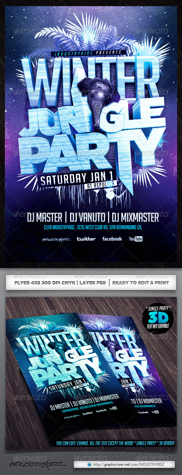 GraphicRiver Winter Jungle Party Flyer Template 6247725