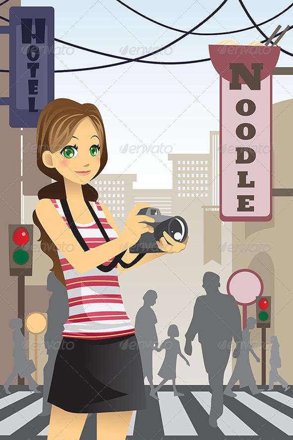 GraphicRiver Woman Tourist 6247729