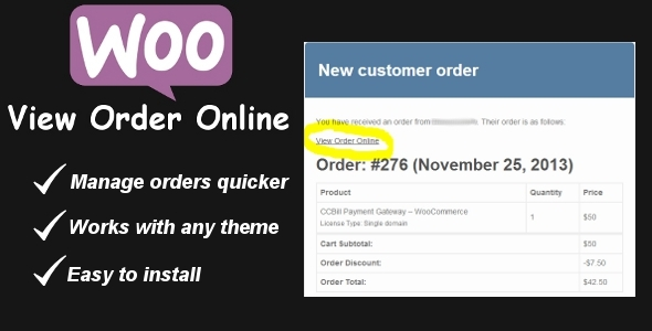 CodeCanyon WooCommerce View Order Online Link 6247837