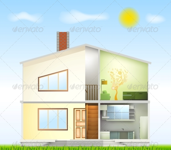 GraphicRiver Cut in House Interiors and Part Facade 6248225