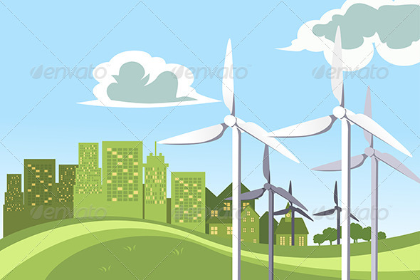 GraphicRiver Wind Turbines Power 6248585