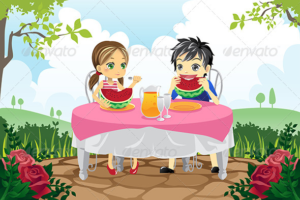 GraphicRiver Kids Eating Watermelon in a Park 6248911