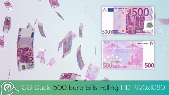 500 Euro Bills Rain