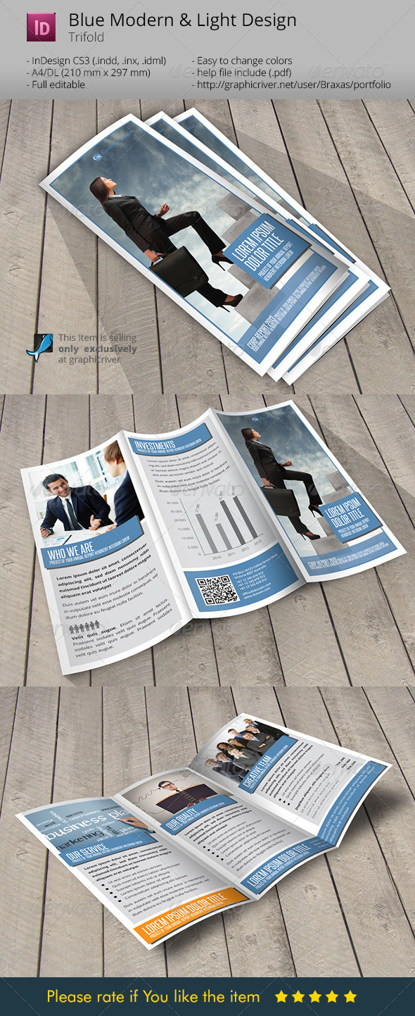 Blue Business Indesign Template Brochure