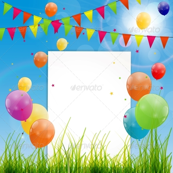 GraphicRiver Color Glossy Balloons Birthday Card 6250344