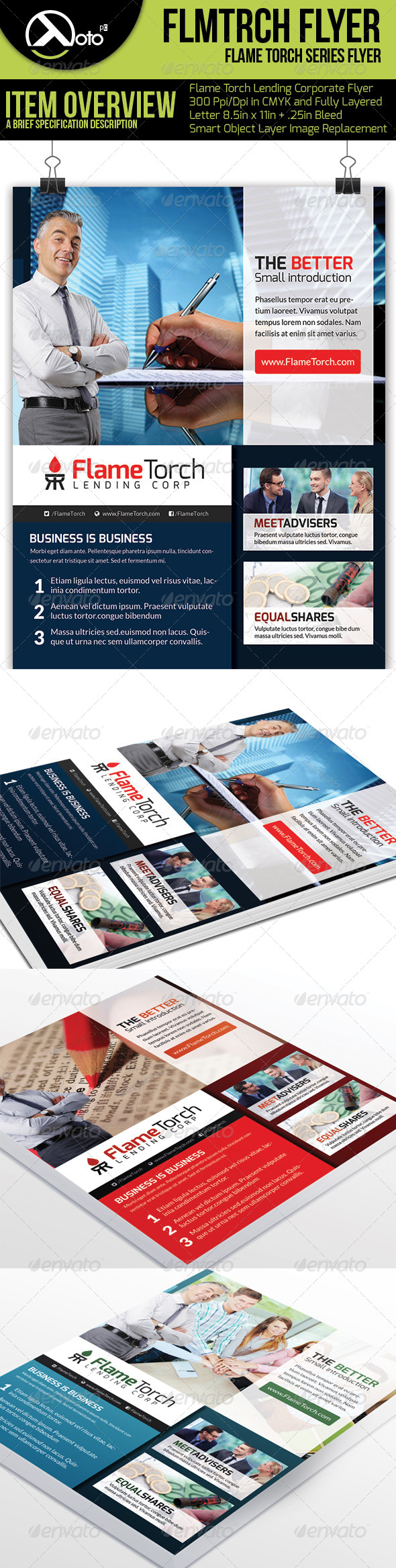 GraphicRiver Flame Torch Corporate Lending Flyers 6250768