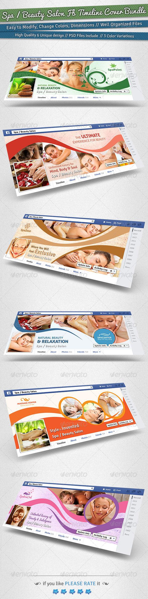 GraphicRiver Spa Beauty Salon Facebook Timeline Cover Bundle 6251357