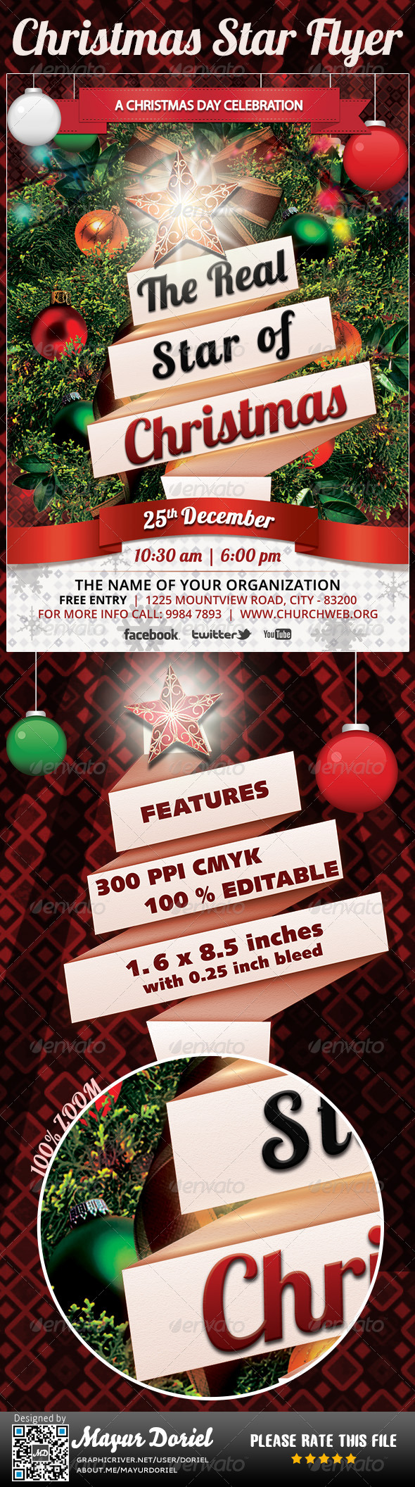 GraphicRiver Christmas Star Flyer Template 3553270