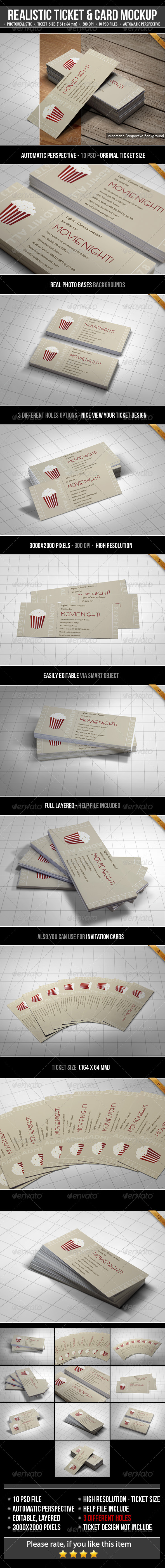 GraphicRiver Realistic Ticket & Card Mockup 6219400
