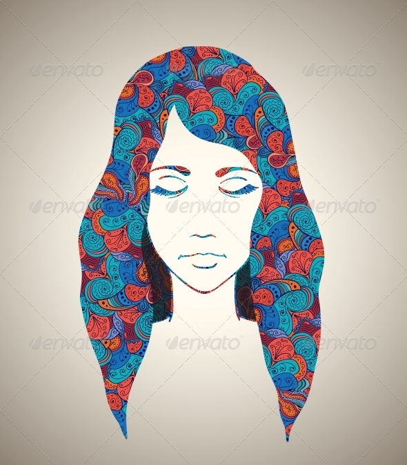 GraphicRiver Abstract Girl Portrait with Floral Ornament 6251749