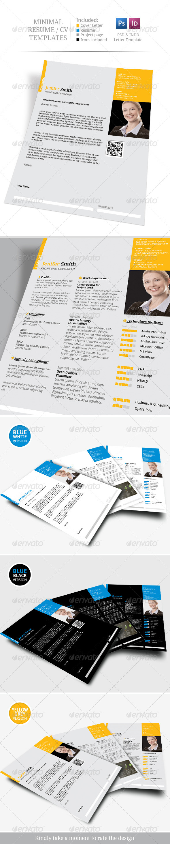 GraphicRiver Minimal Resume CV Set 6251758