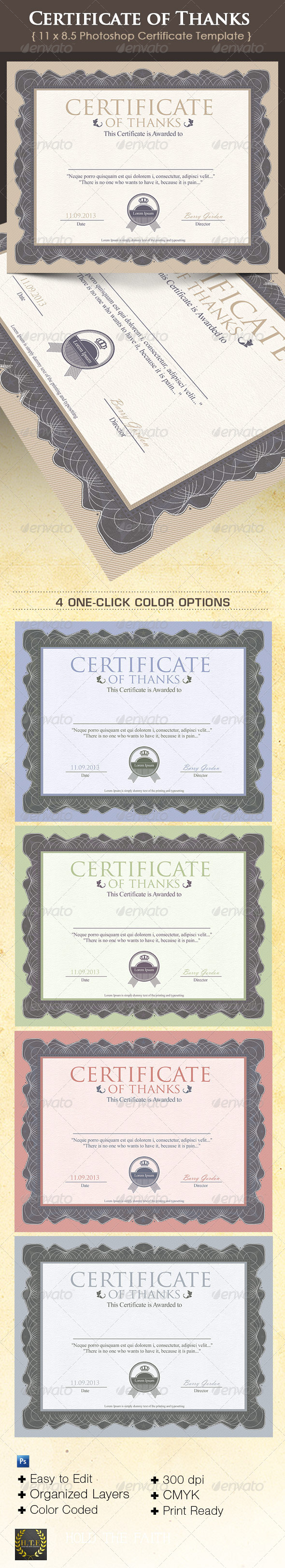 GraphicRiver Certificate of Thanks 6209369