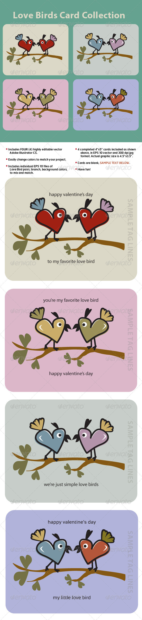 GraphicRiver Love Birds Card Collection 6245266