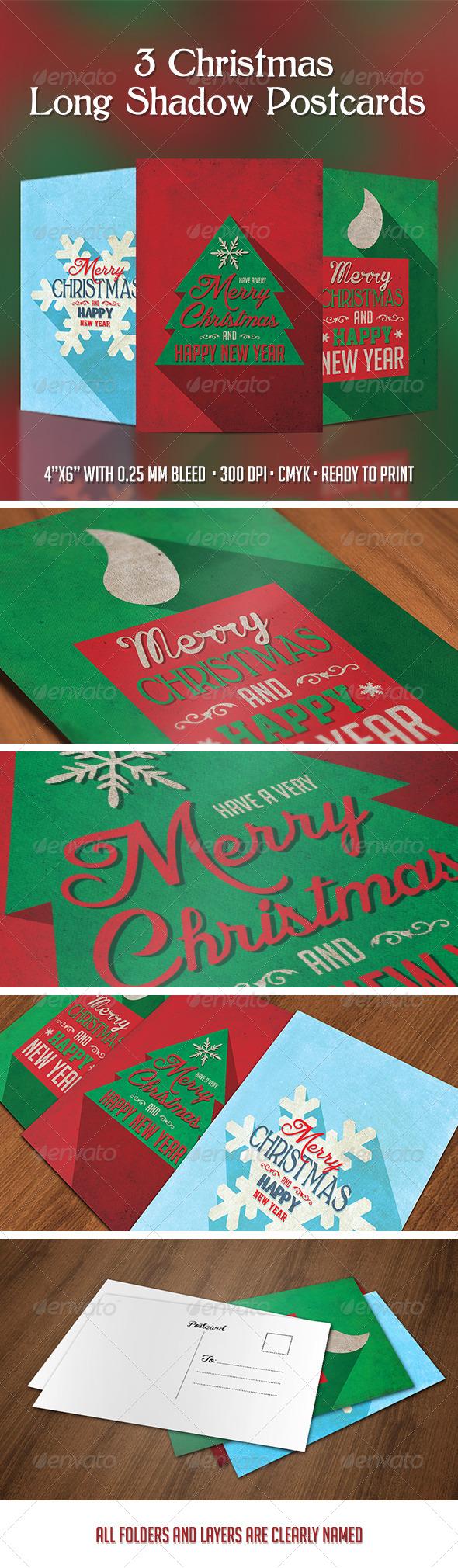 GraphicRiver 3 Christmas Long Shadow Postcards 6252565