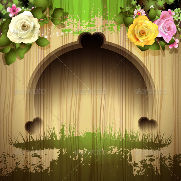 GraphicRiver Wood Background with Roses 6252736