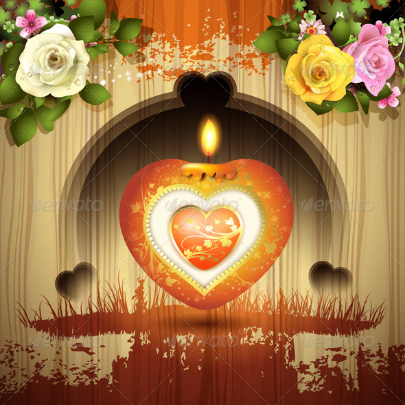 GraphicRiver Red Heart with Candle and Roses 6252745