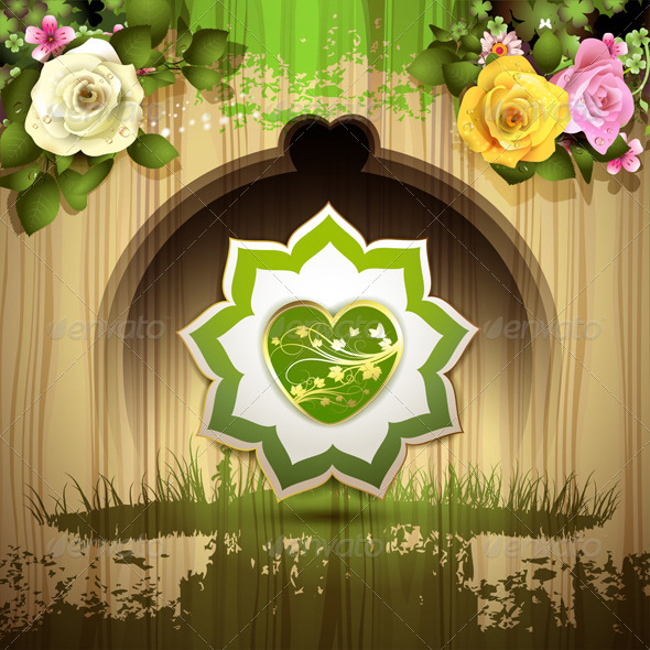 GraphicRiver Green Heart with Roses 6252751