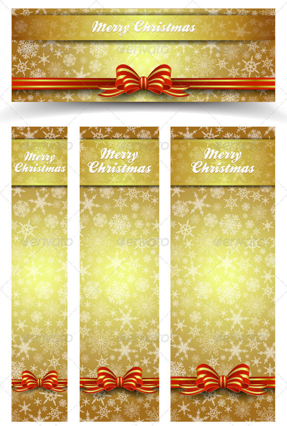 GraphicRiver Christmas Snowflakes Gold Web Banners 6252756