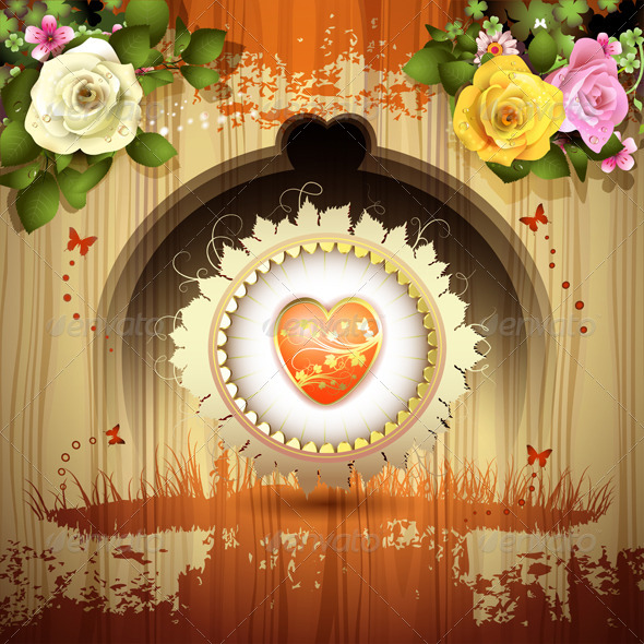 GraphicRiver Red Heart with Roses 6252762
