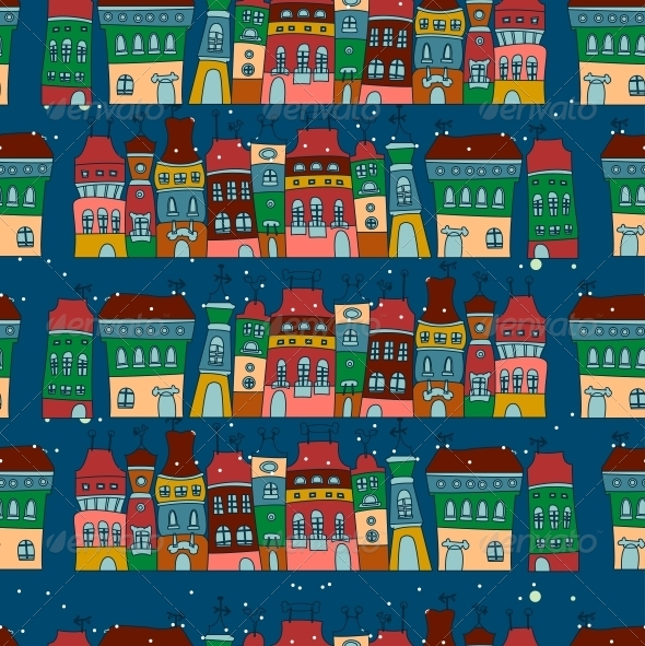 GraphicRiver Seamless Pattern with Colorful Houses 6252857