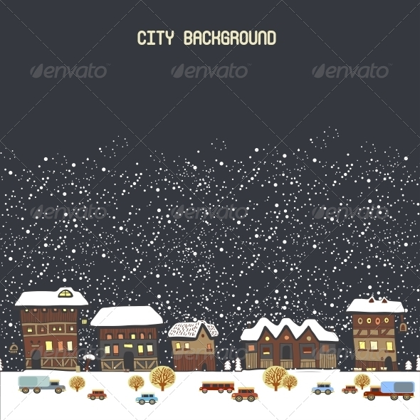 GraphicRiver Vector Illustration with Winter City 6252895
