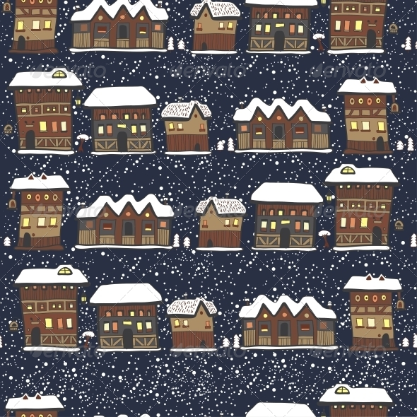 GraphicRiver Winter Christmas Pattern with Houses and Trees 6252928