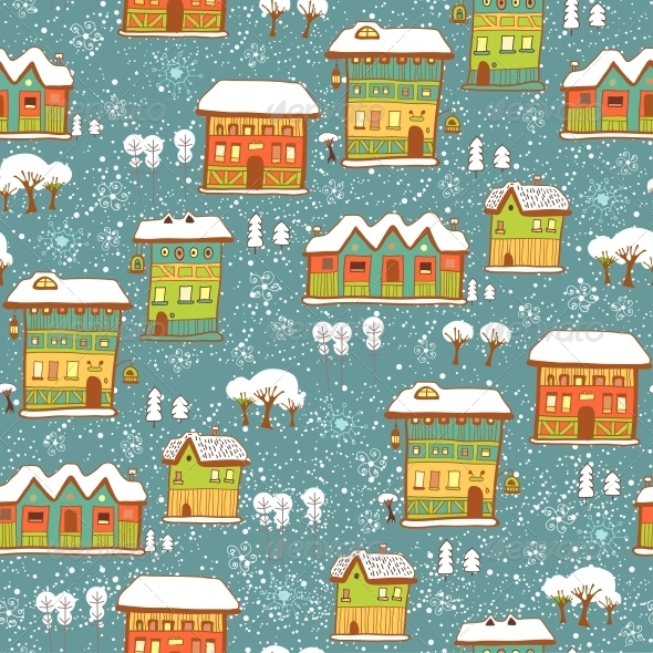 GraphicRiver Winter Background with Houses and Snow 6252960