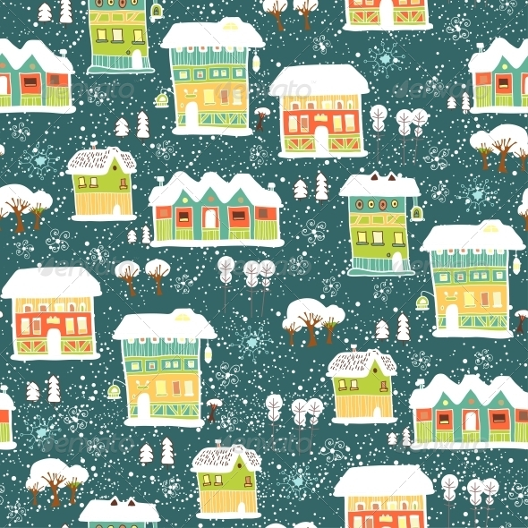 GraphicRiver Winter Pattern with Houses and Trees 6253017