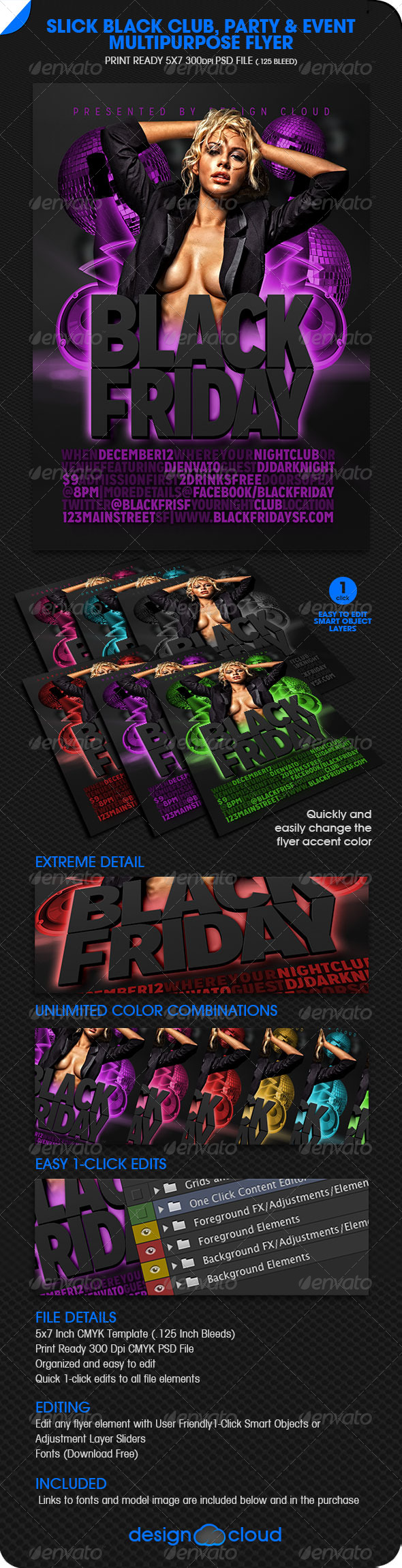 GraphicRiver Slick Black Club Party & Event Multipurpose Flyer 6253399