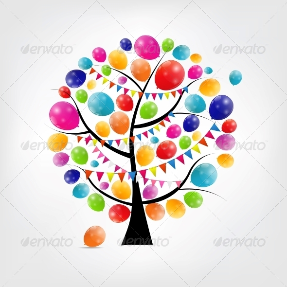 Color Glossy Balloons Tree Background