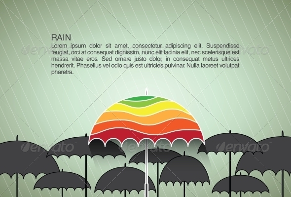 GraphicRiver Vector Design Template with Umbrellas 6254344